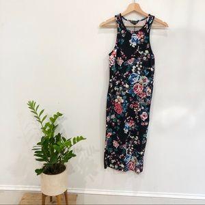 EXPRESS floral midi bodycon dress